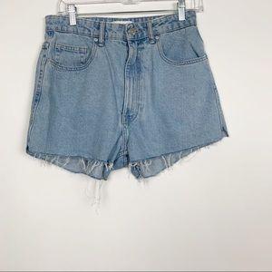 Zara Raw Hem High Rise Mom Fit Shorts